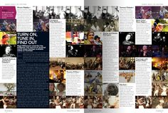 Songlines feature: You Tube.  Editorial design by Ben Serbutt featured small screen shots from each clip mentioned in the article, run left to right.