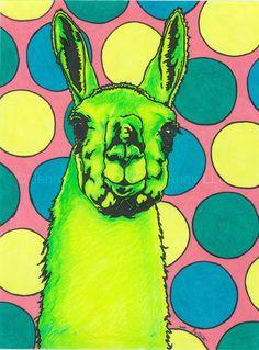 Pop Portrait Art PRINT Circus Llama by Jenny Quest by HootNAndy