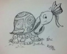 Turtle & butterfly drawing 12/28/13