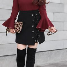 New outfit post on StylishPetite.com - burgundy bell sleeves and lace up skirt (both under $50 and great quality)🙌🏼 Click the link in my profile for outfit details! http://liketk.it/2pEHt @liketoknow.it #liketkit