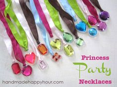 Princess Party Necklaces | Easy and Cute Birthday Craft for Girls by Diy Ready http://diyready.com/19-awesome-birthday-party-craft-ideas-that-will-make-your-day-special/