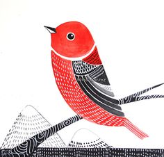 Red Birdmur Artpépinière décor moderne Art  par sublimecolors, $29.99