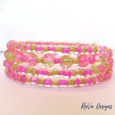 pink and yellow beads handmade bracelet memory wire jewelry sparkle bead stacked layered Memory Wire Jewelry, Wooden Jewelry, Diy Bracelet Storage, Jewelry Crafts, Jewelry Ideas, Handmade Bracelets, Beaded Bracelets, Jewelry Rack, Beading Projects