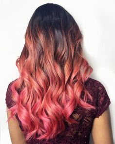 Take a dip into the sweet realness of a dramatic, two-toned pink hair. Be sure to check out these trendy pink ombré hair photos! Blonde To Pink Ombre, Brown Ombre Hair, Hair Color Pink, Pink Hair, Natural Dark Hair, Sunset Hair, Curly Hair Styles, Natural Hair Styles, Latest Hair Color
