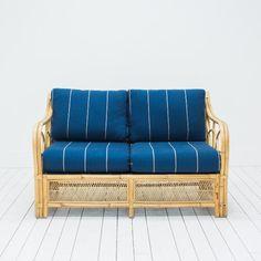 Striped Indigo Loveseat l Bohemian Rattan Loveseat l Small Blue Sofa l Birch & Brass Vintage Rentals l Weddings and Corporate Events l Austin, Texas