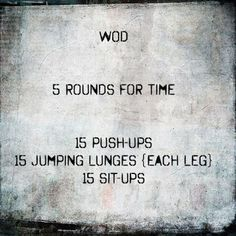 CrossFit WOD.. no equipment, serious workout!