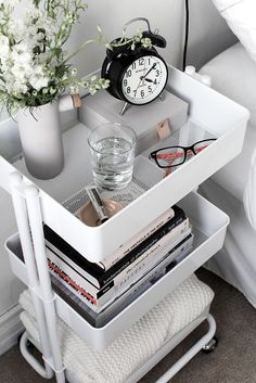 Use a mobile cart instead of a nightstand to maximize space in a tiny bedroom. Use a mobile cart instead of a nightstand to maximize space in a tiny bedroom. Use a mobile cart instead of a nightstand to maximize space in a tiny bedroom. Bedroom Design 2017, Bedroom Designs, Dorm Room Organization, Organization Ideas For Bedrooms, Dorm Room Storage, Organisation Ideas, Dorm Room Shelves, Bedside Table Organization, College Dorm Storage