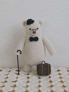 Crochet bear in bowler hat and with a walking stick. (Inspiration).