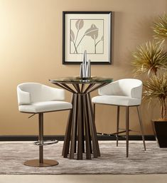 Refined and elegant, the Corona Pub table is comprised of a stylized sunburst top motif supported by a tapered pedestal base. Counter Stools, Bar Stools, Acid Etched Glass, Dining Chairs, Dining Table, Modern Home Furniture, Scandinavian Modern, Living Room Sets, Corona