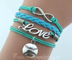 Infinity Bracelet Love Bracelet Baseball by FashionJewelryGift, $4.69 Infinity Bracelet Love Bracelet Baseball Bracelet Antique Silver Mint Green Wax Cords Blue Leather Adjustable Bangle Personalized Jewelry