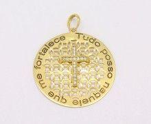 Pingente Tudo Posso Naquele que me Fortalece Diamante Ouro 18k 750. www.marciojoalheiros.com.br