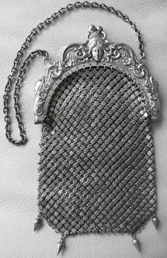 Antique Victorian G Silver Art Nouveau Woman Chain Mail Mesh Chatelaine Purse #EveningBag