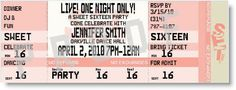 Live! One Night Only Sweet 16 Ticket Invitations by Special Event Ticketing - Invitation Box