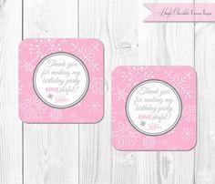Pink Winter ONEderland Favor Tags. Winter by HauteChocolateFavors, $8.00