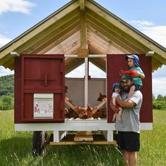 Chicken wagon is on the field! The original egg-mobile will remain home to our laying hens, while this new mobile coop will house the… Mobile Chicken Coop, Backyard Chicken Coops, Chicken Coop Plans, Building A Chicken Coop, Chickens Backyard, Best Egg Laying Chickens, Laying Hens, Raising Chickens, Broiler Chicken