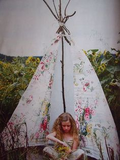 teepee from Country Living. I am fairly sure I am going to spend the rest of the week making teepees. why don't I make a teepee writing room?! how have I not already made a teepee?!?