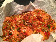 Thermomix Coriander and chilli steamed salmon. Varoma