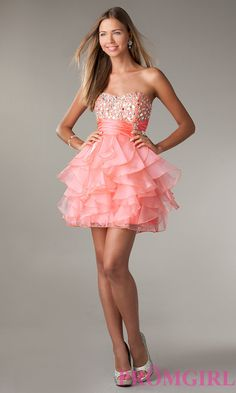 Short Strapless Prom Dress with Ruffled Skirt by LA Glo e2c60c094