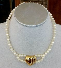 Vintage Faux Pearl Puffy Heart Gold Tone Choker Necklace #NotSigned #Choker