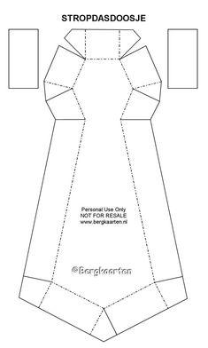 Voor dit stropdasdoosje snijd je onderstaand patroon twee keer uit.  Rechte lijnen snijden en onderbroken lijnen vouwen.       De omgevouw...