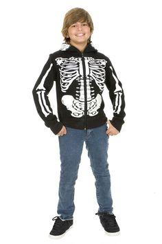 Skeleton Sweatshirt Hoodie Black and White Boys Costume #Día de los Muertos #day of the dead #dia de muertos