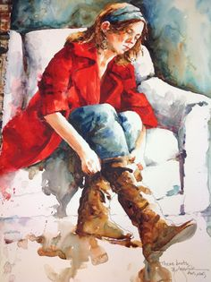 """These boots""  Watercolor by American artist by Bev Jozwiak."