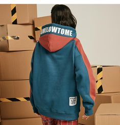 Aelfric Fleece Hoodie Men Winter Warm Pullover Couple Casual Streetwear Letter Color Patchwork Hip Hop Hoodies Sweatshirts - Home Casual Styles, Casual T Shirts, Men Casual, Ropa Hip Hop, Herren Winter, Hipster Outfits, Hipster Boys, Couple Outfits, Hoodie Outfit