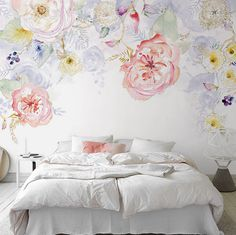 Watercolor Blooms Wallpaper Fresh Spring Flower & Leaves Watercolor Blossoms Wall Mural Art Bedroom Pink Red Yellow Light Blue Florals by DreamyWall on Etsy https://www.etsy.com/listing/472063829/watercolor-blooms-wallpaper-fresh-spring