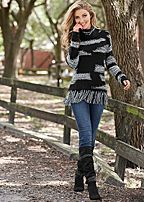 contrasted fringe sweater, skinny jean, strap boot
