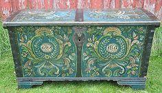Norwegian Rosemaling Bridal trunk Luraas 1847 Hardanger folk art Viking Norway in Antiques, Furniture, Chests & Trunks   eBay
