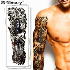 [Visit to Buy] M-Theory Waterproof 3d Arm Sleeve Makeup Temporary Tattoos Sticker Henna Flash Tatoos Body Arts Swimsuit Makeup Tools #Advertisement
