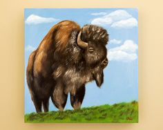 Original Buffalo Painting by HeatherAnnOrlando on Etsy, $120.00 #art #oil #painting #buffalo #bison #yellowstone #animal
