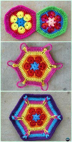 Crochet African Flower Hexagon Motifs Free Pattern - Crochet Hexagon Motif Free Patterns