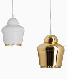 Fluorescent brass pendant #lamp A330 by Artek | #design Alvar #Aalto (1954) #golden @Artek