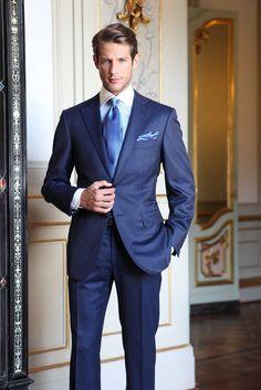 Classic blue pinstripe. Uomo Collezioni mens style