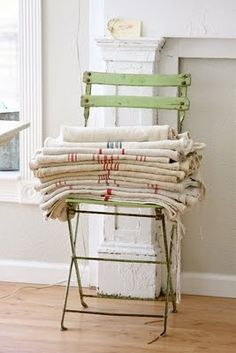 linens on a folding chair