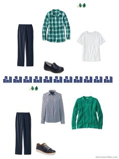 2 ways to wear green with navy and white from a travel capsule wardrobe