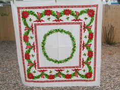 Vintage Christmas Tablecloth Linen Poinsettias by TheVintageMoment, $18.00