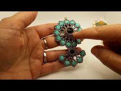 Tutorial modulino/ciondolo/orecchini ,,MIRUM,,💚💛💚 - YouTube Bracelet Crafts, Bead Weaving, Beaded Earrings, Pendants, Brooch, Beads, Floral, Youtube, Twin