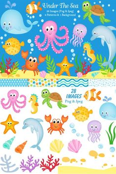This Under the Sea clip art pack is perfect for teaching resources, digital scrapbooking, party printables and other design projects. Under The Sea Animals, Under The Sea Theme, Colouring Pages, Adult Coloring Pages, Under The Sea Clipart, Sea Illustration, Sea Crafts, Party Printables, Teaching Resources