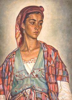 George Löwendal, Bucovineancă - ulei pe placaj, 65.00 × 48.00 cm, semnat dreapta jos, cu gri, GL