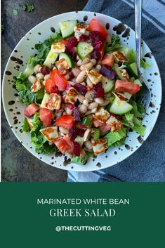 Marinated White Bean Greek Salad is the perfect no cook lunch or side dish that you need for your summertime. So good especially when you do not want to turn on your oven. #thecuttingveg #eatrealfood #nocook Grilled Halloumi, Salad Topping, Sweet Potato Nachos, Greek Salad, Cozy Meals, Family Meals, Family Recipes, White Beans, Kitchen Recipes