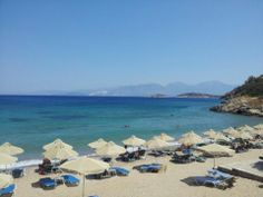 Havania beach #Crete #summerholidays A well-organised beach, close to Ag.Nikolaos with W.C, taverns and café available. Easy access for everyone but if you have a pet, you cannot take it with you. Pets aren't allowed!