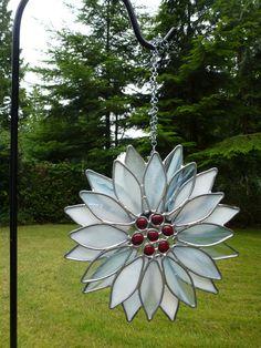 Stained Glass White Red Poinsettia Suncatcher by BlueFishStudios, $65.00