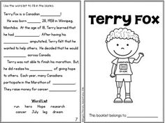 Terry Fox Activity Booklet September Themes, Math Classroom, Classroom Ideas, Kindergarten Colors, Core French, School Plan, France, Too Cool For School, Helping Others