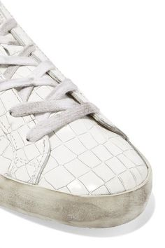 Golden Goose Deluxe Brand - Super Star Distressed Croc-effect Leather Sneakers - White - IT41