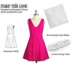 The raspberry color really makes this dress--but luckily it's achievable with dye-able fabric!