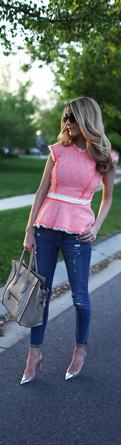 unique peplum top, with skinnies and heels! Love this casual look for a date night or hanging out with the girls!