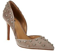 G.I.L.I. Leather Studded Pointed Toe Two-piece Pumps - Jilee