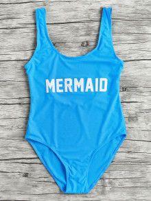 Letter Print Scoop Neck Beach Swimsuit